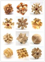 Wholesale Toys For Babies Chinese - Wholesale Funny Chinese Traditional Wooden Educational Toys for Adult Children Intelligence Education Puzzle Lock Kids baby wood Toys LA375