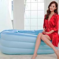 Wholesale Bath Articles - Wholesale- 8 in 1 Thickened PVC Adults Bathtub Folding Tub Bath Portable Vathtub Inflatable Vath Bathing Articles 150*80*45cm