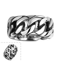 Wholesale china offer - 100% Stainless Steel Ring Men Women Vintage Jewelry Punk Style Buddha 2 Buddha Ring Curb Chain Sale Factory Offer
