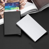 Wholesale Slim Automatic - Automatic Pop Up Click Slide Card Holder Thin Metal RFID Card Protector Cases Slim Aluminium Credit Card Holder Wallet