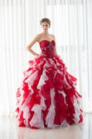 boléro à robe rouge achat en gros de-Robe de Quinceanera Rouge / Blanc Volants Décolleté Chérie Lace Up Back Bolero Jacket Robe Sexy Sixteen Dress Pageant