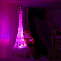 Wholesale Color Changing Christmas Trees - Wholesale- led color change Romantic Eiffel Tower LED Night Light Bedroom home decor lights Worldwide Store lamp battery powered