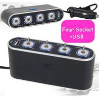 Wholesale 12v Socket Splitter - Car-styling 12V - 24V 4 Way Multi Socket Car Charger Vehicle Auto Car Cigarette Lighter Socket Splitter +USB Ports Plug Adapter