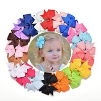 Wholesale Ribbons Clips - Fashion 3 inch Baby Girl Bows Hair Clips Boutique Hair Pin Grosgrain Ribbon Bows Hairpins Kids Headwear Accessories