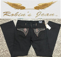 Wholesale Famous Keychain - 2017 new denim men ripped famous brand men big size men's biker robin's jeans with keychain spark stone male men jeans