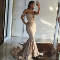 Wholesale Sweetheart Champagne Satin - 2017 New Sexy Off Shoulder Mermaid Prom Dresses Arabic Elegant Custom Made Sweep Train Long Dresses Evening Wear Plus Size Vestidos De Novia