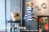 Wholesale Korean Ball Big Girl - Korean Navy big bow stripe Girls Dresses Summer Princess Dresses Fashion Beach Dresses Kids Summer Dress Girls Clothes Kids Wear A667