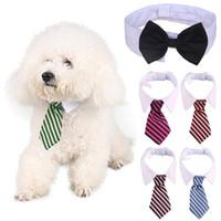 collar del gato corbata de lazo al por mayor-Perro de preparación para gatos Pajarita a rayas Pajarita de rayas para animales Collar para mascotas Corbata ajustable Corbata para perros de cuello blanco Para fiesta de bodas