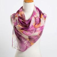 bufandas de georgette impresas al por mayor-Al por mayor- Las hojas de la moda de impresión largo Georgette bufanda mujeres bufandas de seda Spring Girls chal Echarpe