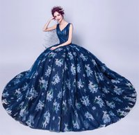 Wholesale Special Occasion Floral Gown - Long Evening Dresses 2017 New V-Neck Floral Print Navy Blue Prom Gowns Cheap Real Photo Pleated Beaded Formal Special Occasion Dress