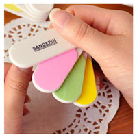 Wholesale Colourful Nail Tips - Wholesale- 1 Set Hot Sale Colourful Mini Professional Nails Files Art Tools Sand Board Grit Finger Tips Manicure Pedicure Tools