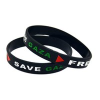 Wholesale coloured wristbands - Hot Sell 1PC Free Palestine Save Gaza Wristband Silicone Bracelet For Organization Black And White Colour