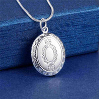 Celtic oval picture frames - Hot Fashion Pendant Heart Locket Plate Oval Charm picture frame Necklace silver cute Cheap CYPRIS Lose money promotion