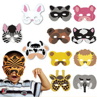 zoo animal toys children achat en gros de-Wholesale-12Pcs Children Cosplay Mask Halloween Animal Head Zoo Party Dress Costume Prop Baby Toys gadget