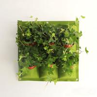 ingrosso borse da fiori verticali-New Indoor Outdoor Wall Hanging Fioriera verticale Felt Plant Pot crescere fiori Borse 9 tasche fioriere casa 0,5 M * 0,5 M WX-P04
