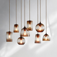 Wholesale head lights for fishing - Amber Color Thread Mirrored Glass Single Head Pendant Lamp Fish Tank Column Shape Glass Dinning Lamp for Resturant Living Room Smooth Glass