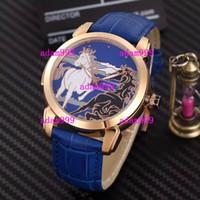 mavi altın bilezik toptan satış-Lüks Gül Altın Paslanmaz At Yüz Blue Leather Bracelet Erkekler Mekanik Otomatik Saatler UN Parlak Moda Marka Erkek Spor Kol Saati