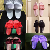 Wholesale Slip Girls Slipper Shoe - (With Box)Dust Bag Wholesale Leadcat Fenty Rihanna Shoes Women Slippers Indoor Sandals Girls Fashion Scuffs Pink Black White Grey Fur Slide