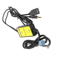 connecteurs de voiture mp3 achat en gros de-Adaptateur d'interface USB pour voiture MP3 avec entrée auxiliaire pour Audi A2 A4 A6 S6 A8 TT S4 S8 avec mini connecteur bleu ISO 8P
