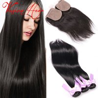 Cheveux humains droites 3 ensembles avec fermeture Double drawn Virgin Weave Weave Natural Black Straight Machine brésilienne à cheveux Weave Double Wefts