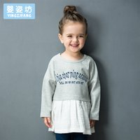 Wholesale Tee Tutu Dress - Yingzifang 2017 Girls Baby Fashion Casual Active Cotton Long Sleeves Pattern Letter Tees Stitching Dress Children's Clothing Dresses