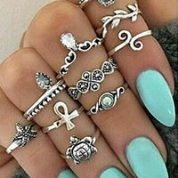 10 PCS / set Vintage Punk Ring Set Banhado a prata animal starfish leaf midi Rings Mulheres Boho Beach Knuckle Rings Jewelry Wholesale