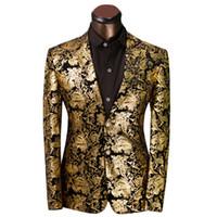Wholesale Prom Dress Size Xs - Wholesale- 2016 Brand Clothing Royal Prom Dresses Suits Men Costume Homme Golden Floral Pattern Suit Jacket Men Slim Fit Blazer Size XS-6XL