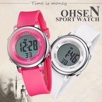 Wholesale Ohsen Digital Lcd - OHSEN Digital LCD kids Girl Pink Wristwatch Rubber strap 50M Diver 7 Colors Cartoon Children Boys Fashion watch alarm hand clock