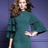 Wholesale Lotus Bead Caps Wholesale - European Spring 2017 New Women's Half Sleeve Turtleneck Nail Bead Dress Pure Color Lotus Leaf Package Buttocks Dress Polyester Green Black