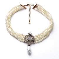 Wholesale Collar Necklace Beaded - Luxury Wedding Choker Pearl Collar Necklace Bride Multilayer White Pearls Beaded Chockers Statement Necklaces For Women Jewelry Dropshipping
