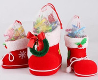 Wholesale Favor Shoes - Christmas Gift Bag Elf Spirit Candy Boot Shoes Stocking Holders XMAS Party Decoration drawstring Filler Bags Pen Holder holiday favor S M L