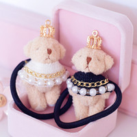 Wholesale Teddy Fabric Wholesale - 6pcs lot cute plush teddy bear with pearls crown hair rope for women rubber band fashion hair accessories