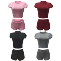 Wholesale Yoga Outfit Wholesalers - Summer Two Piece Short Set Tracksuit For Women Activewear T-Shirts + Shorts Outfit Sport Jumpsuit Romper 4 Color Wholesale Price Mix Order