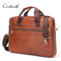 "Wholesale Lawyers Briefcase - CONTACT'S Business Genuine Leather Men Briefcase Cowhide Men's Messenger Bags 14"" Laptop Business Bag Luxury Lawyer Handbag Briefcases"