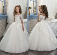 Wholesale Half Sleeve Purple Wedding Dress - 2017 Elegant Ivory Half Sleeve Boat Neckline Holy First Communion Flower Girls Dresses Appliques Tulle Girls Pageant Dresses