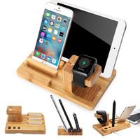 apfel wiege ladung großhandel-Handgefertigte natürliche Bambus Holz Ladestation Station für Apple Watch und Halterung Schreibtisch Halter Cradle Ständer für iPhone iWatch iPad Smartphone