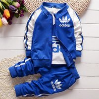 Wholesale baby boy fall clothing - New Chidren Kids Boys Clothing Set 3 Piece Hooded Coat Suits Fall Cotton Baby Clothes Autumn Winter