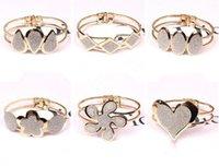 Wholesale Polish Rose Ring - Wholesale- New 2017 HOT Rose Crystal Dull Polish Bangle Heart Rhombus Bracelet Gift