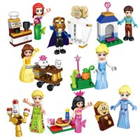 Wholesale Princess Building Blocks - Girl Friends Building Blocks Toys For CHildren Elsa Sparkling Ice Princess Cinderella Arendelle Castle Figures Kids Gifts Bricks 8pcs lot