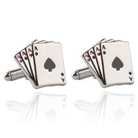 Wholesale Ace Jewelry - Poker Ace Cufflinks For Mens Shirt Jewelry Accessories Wedding Silver Color Cuff Links Buttons For Poker Enthusiasts Gift