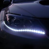 otomatik drl ışık şeritleri toptan satış-Su geçirmez Araba Oto Dekoratif Esnek LED Şerit Yüksek Güç 12 V 30 cm 15SMD Araba LED Gündüz Çalışan Işık Araba LED Şerit Işık DRL