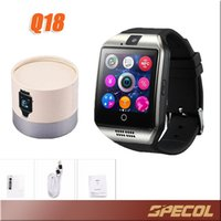 Wholesale Gsm Phone Calling - 1PCS Q18 Smart Watch Phone Support SIM TF Card GSM Bluetooth Smartwatch Sports With Camera for iPhone Android Phone VS DZ09 GT08