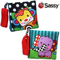 Vente en gros- Candice Guo! L'arrivée la plus récente Sassy cute cartoon animal coloré monkey elephant cloth book safe mirror bébé jouet cadeau 1pc