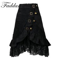 Wholesale Midi Skirt Lace - 2017 Vintage Steampunk Style Women Skirt Bustle Saias Lace Jupe Corset Midi Long Evening Party Tulle Skirts Plus Size