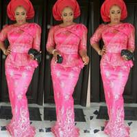 ingrosso donne calde che indossano il merletto-Hot Pink Aso Ebi Abito da sera in pizzo Appliques Sheer Sleeves Mermaid Plus Size Abiti da sera Peplo Piano Lunghezza Donna Abiti formali Vestidos