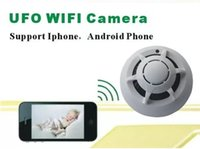 Wholesale Spy Smoke Detector Wifi - UFO WiFi Wireless IP Camera Spy Smoke Detector Surveillance Camera Video Recorder For iPhone Android Smart Phone