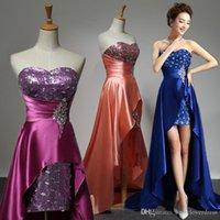 Wholesale Strapless Long Satin Bandage Gown - Royal Blue Evening Dress 2017 Short Front Long Back Elegant Evening Gowns Formal Dresses Plus Size Custom Made robe de soiree