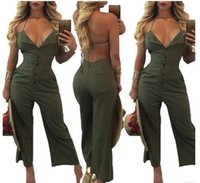 Wholesale Lady S Cross Loose - 2017 new Women's Jumpsuits Fashion halter Pants Set Rompers Sexy deep V Backless Wide leg pants ladies ArmyGreen playsuits Overalls