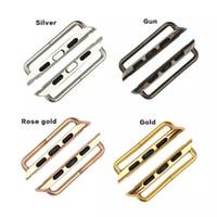 altın iwatch toptan satış-Multicolors Gümüş Siyah Gül Altın 38mm veya 42mm Konnektörler Adaptörleri Için bir Çift Watch Band Spor Sürümü Izle Kayışı IWatch Için