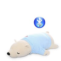 Wholesale Kawaii high quality plush white bear bluetooth soft pillow Valentine s Day New Year music pillow lovely girl birthday gift